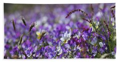 Purple Flower Bed Beach Sheet