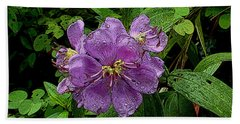 Purple Flower Beach Towel by Sergey Lukashin