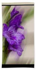 Purple Gladiolus Bloom Beach Towel