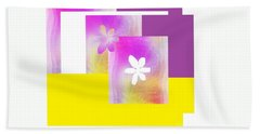 Purple Glow Flower Beach Towel