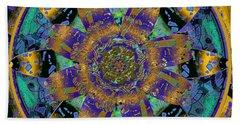 Purple Gold Dream Catcher Mandala Beach Sheet by Michele Avanti
