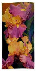 Purple Gold Irises  Beach Towel