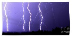 Purple Rain Lightning Beach Towel