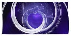 Beach Towel featuring the digital art Purple Heart by Menega Sabidussi