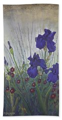 Beach Towel featuring the painting Purple Iris by Rob Corsetti