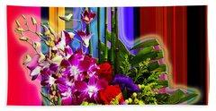 Purple Lady Flowers Beach Sheet