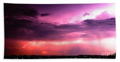Purple Lightning Panorama Beach Sheet