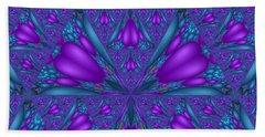 Purple Mixed Fractal Flower Beach Sheet