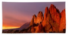 Beach Towel featuring the photograph Purple Morning At Garden Of The Gods by Ronda Kimbrow