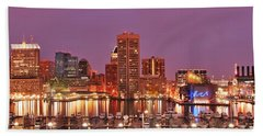 Purple Night In Baltimore Beach Towel
