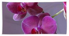 Purple Orchid Beach Sheet by Kathy Eickenberg