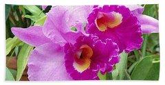 Purple Cattleya Orchids Beach Sheet