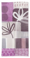 Purple Patchwork- Contemporary Art Beach Sheet by Linda Woods