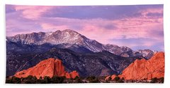 Purple Skies Over Pikes Peak Beach Towel by Ronda Kimbrow