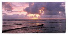 Beach Towel featuring the photograph Purple Pink Sunset by Athena Mckinzie