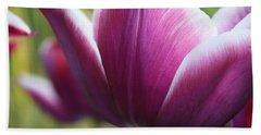 Purple Tulip Petal Beach Towel