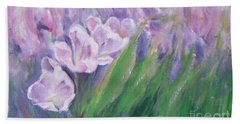 Purple Tulips  Beach Towel by Jane  See