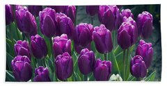 Purple Tulips Beach Towel