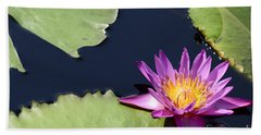 Purple Waterlilly Beach Towel