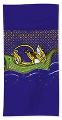 Pussycat And Owl Stars Beach Towel by Donna Huntriss