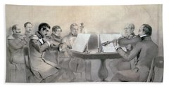 Quartet Of The Composer Count A. F. Lvov, 1840 Pencil On Paper Beach Towel