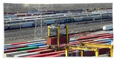 Beach Towel featuring the photograph Queensgate Yard Cincinnati Ohio by Kathy Barney