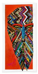 Beach Sheet featuring the tapestry - textile Quilted Warrior by Apanaki Temitayo M
