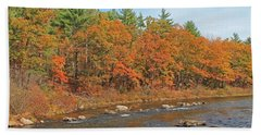 Quinapoxet River In Autumn Beach Towel