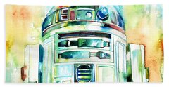 R2-d2 Watercolor Portrait Beach Sheet by Fabrizio Cassetta