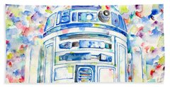 R2-d2 Watercolor Portrait.1 Beach Sheet by Fabrizio Cassetta