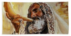 Rabbi Blowing Shofar Beach Sheet by Carole Spandau