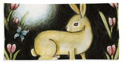 Beach Towel featuring the mixed media Rabbit And The Butterfly . . . From The Tapestry Series by Terry Webb Harshman