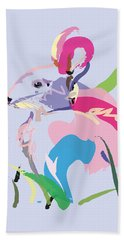 Beach Towel featuring the painting Rabbit - Bunny In Color by Go Van Kampen
