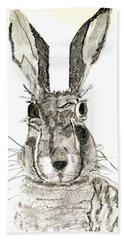 Beach Towel featuring the drawing Rabbit by Sandy McIntire