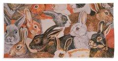 Rabbit Spread Beach Towel by Ditz