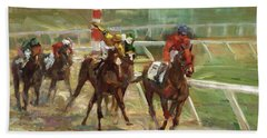 Race Horses Beach Towel