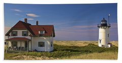 Race Point Lighthouse In Summer Beach Towel by Amazing Jules