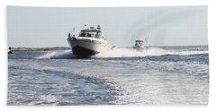 Racing To The Docks Beach Sheet by John Telfer