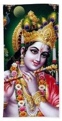 Radha Krishna Idol Hinduism Religion Religious Spiritual Yoga Meditation Deco Navinjoshi  Rights Man Beach Towel by Navin Joshi