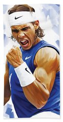 Rafael Nadal Artwork Beach Towel by Sheraz A