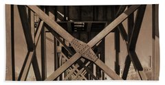 Railroad Trestle Sepia Beach Towel