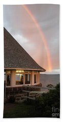 Rainbow At The Bath House Minister Island Nb Beach Towel