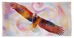 Rainbow Flying Eagle Watercolor Painting Beach Sheet