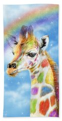 Beach Sheet featuring the mixed media Rainbow Giraffe by Carol Cavalaris