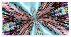 Rainbow Glass Butterfly On Blue Satin Beach Towel