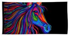 Rainbow Horse Head Beach Towel by Nick Gustafson