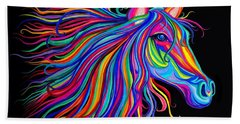 Rainbow Horse Too Beach Towel by Nick Gustafson