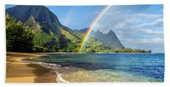 Rainbow Over Haena Beach Beach Towel
