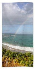 Beach Towel featuring the photograph Rainbow Over Palms by The Art of Alice Terrill