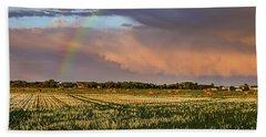 Rainbow Over The Field Beach Towel